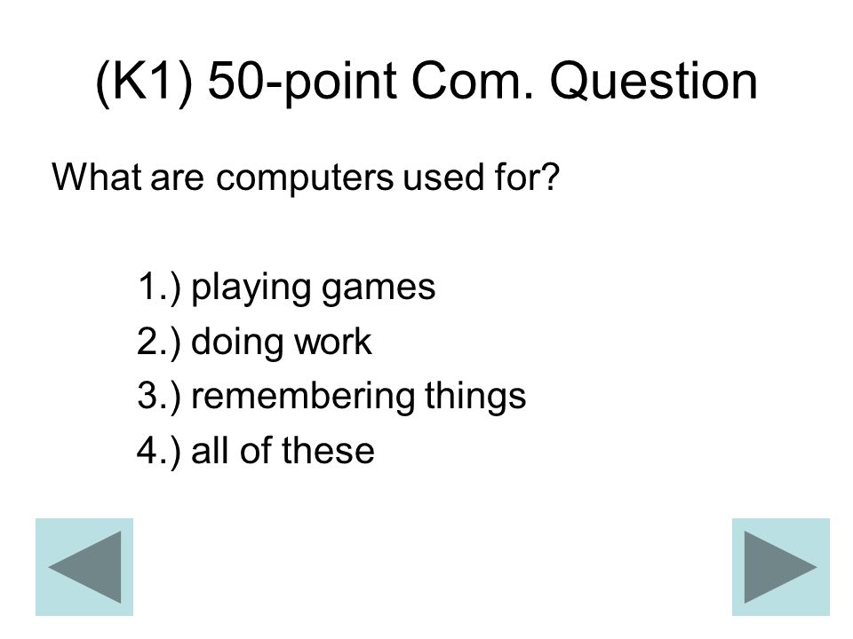 (K1) 50-point Com. Question