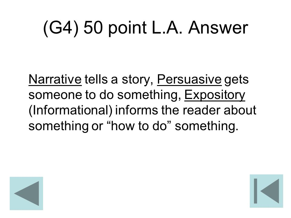 (G4) 50 point L.A. Answer