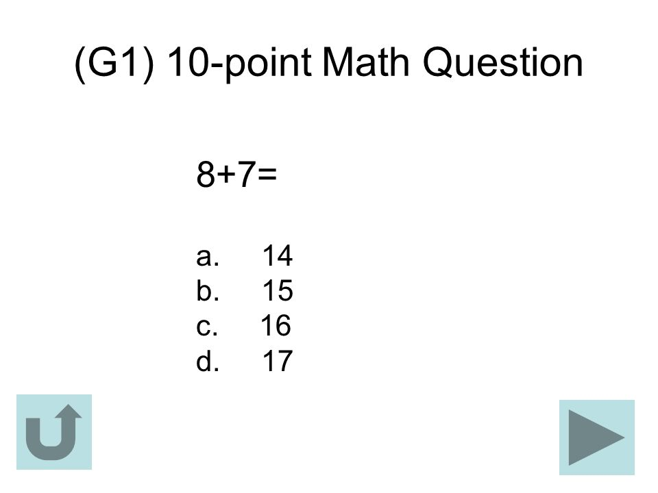 (G1) 10-point Math Question