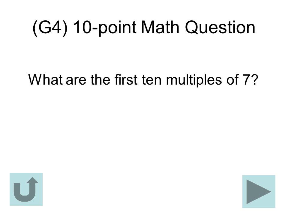 (G4) 10-point Math Question