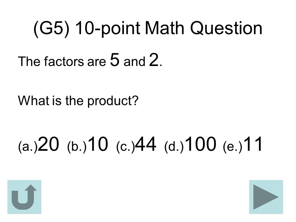 (G5) 10-point Math Question