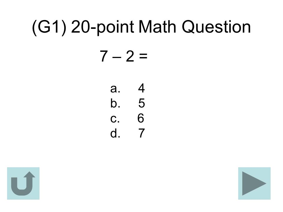 (G1) 20-point Math Question