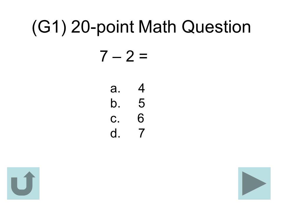 (G1) 20-point Math Question
