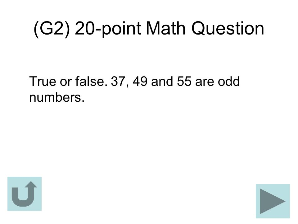 (G2) 20-point Math Question