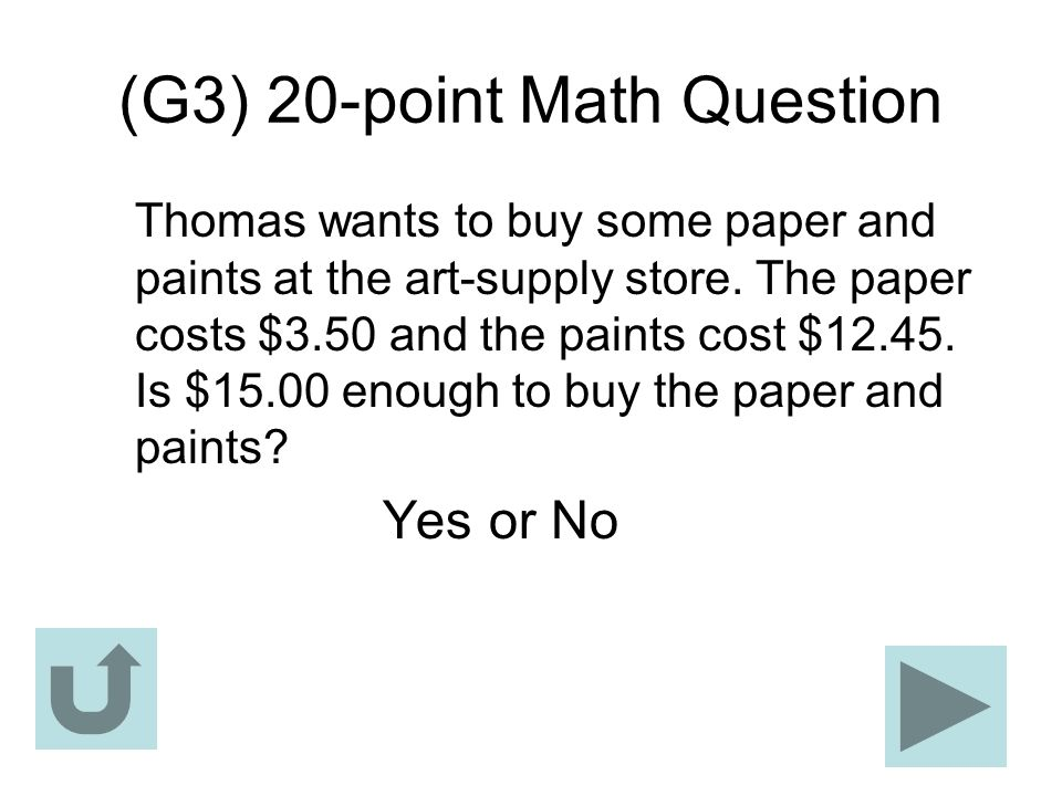 (G3) 20-point Math Question