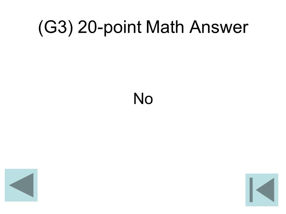 (G3) 20-point Math Answer No