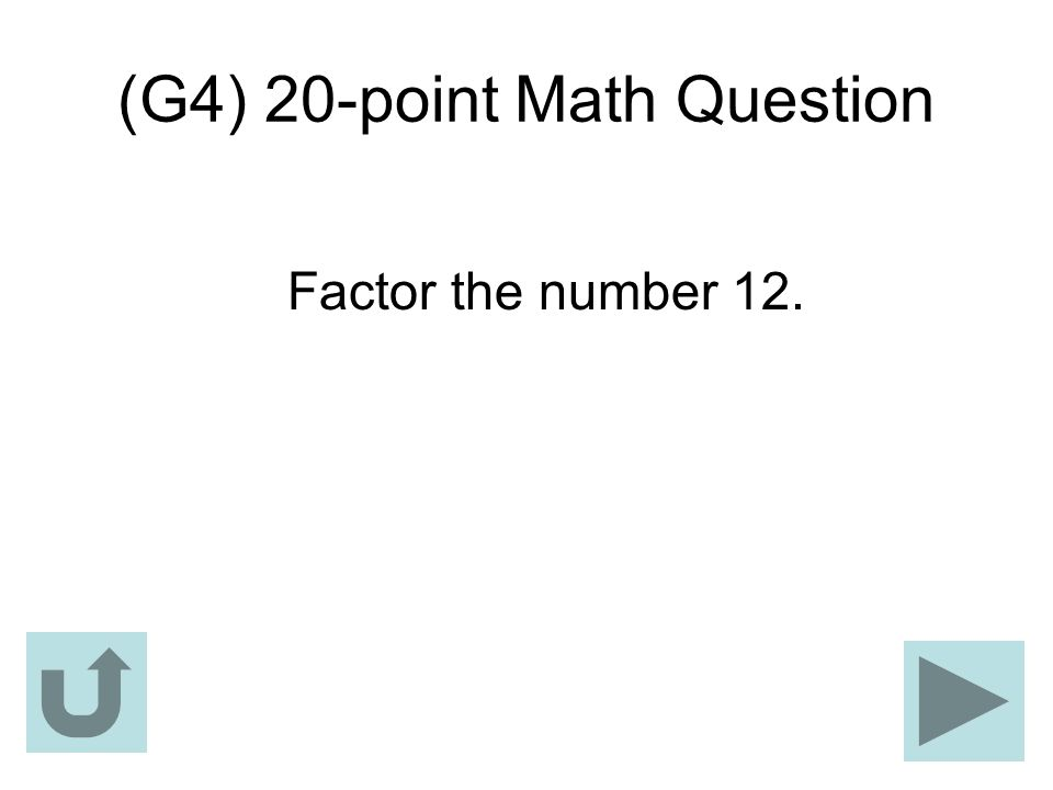 (G4) 20-point Math Question