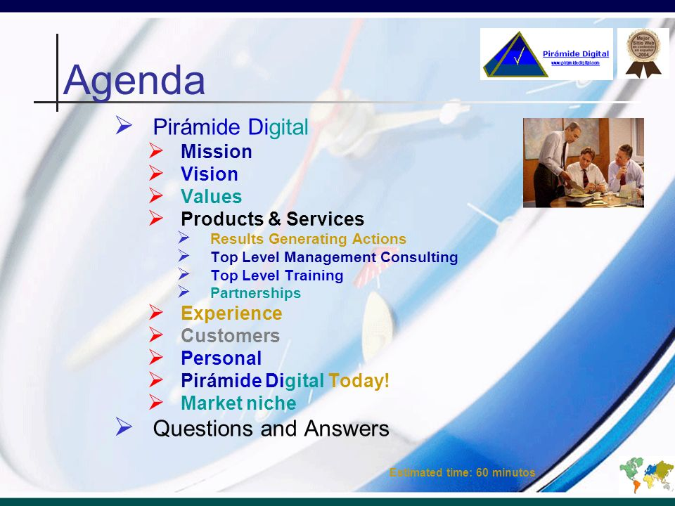 Agenda Pirámide Digital Questions and Answers Mission Vision Values