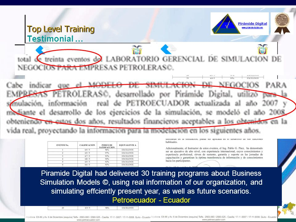 Top Level Training Testimonial …