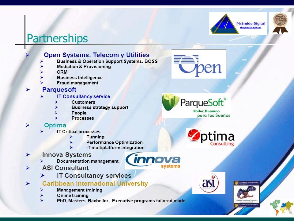 Partnerships Parquesoft Optima Innova Systems ASI Consultant