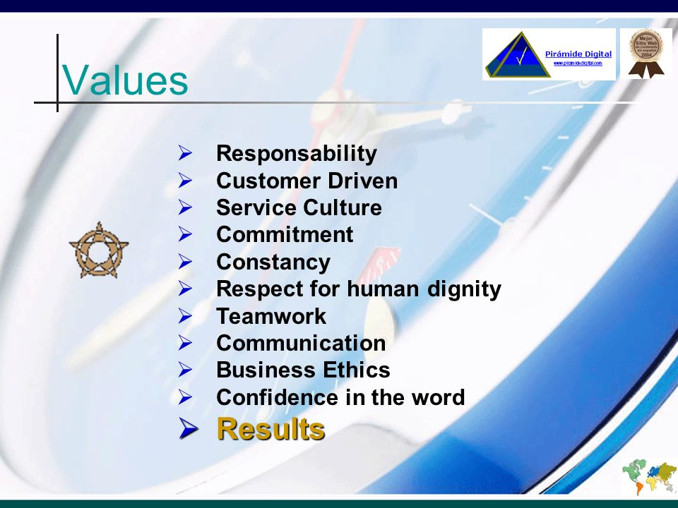 Values Results Responsability Customer Driven Service Culture