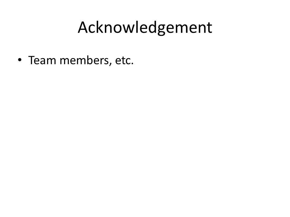 Acknowledgement Team members, etc.