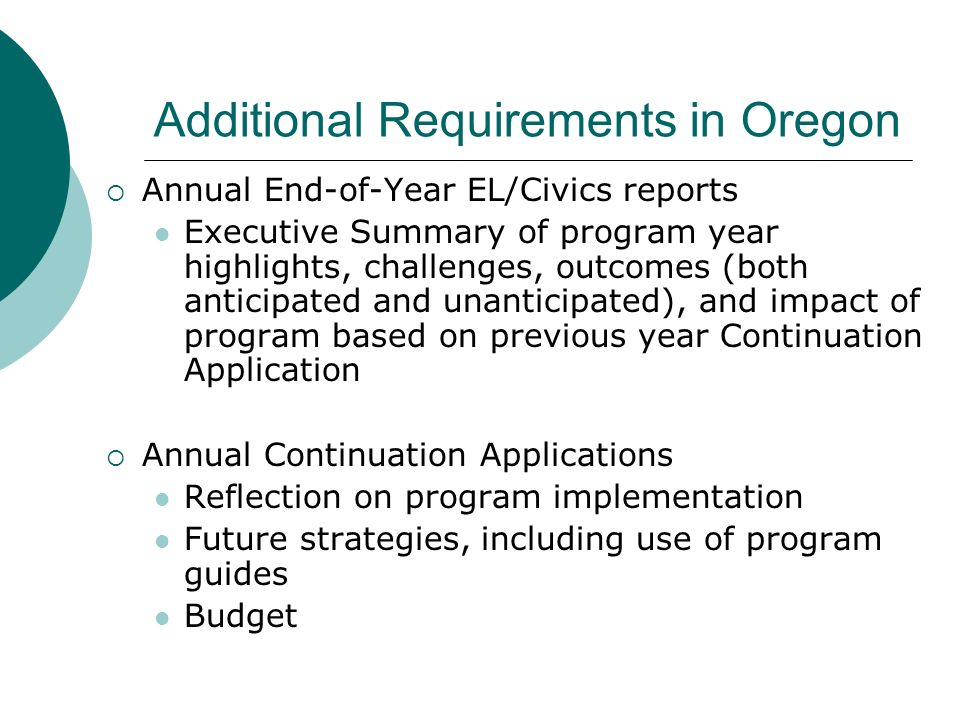 Additional Requirements in Oregon
