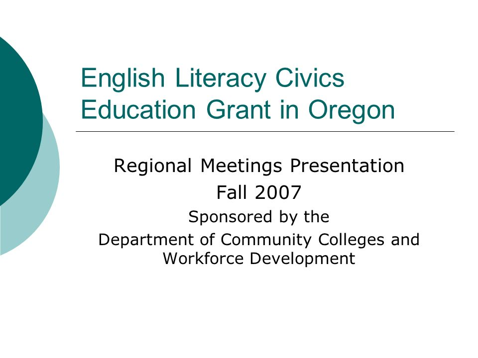 English Literacy Civics Education Grant in Oregon