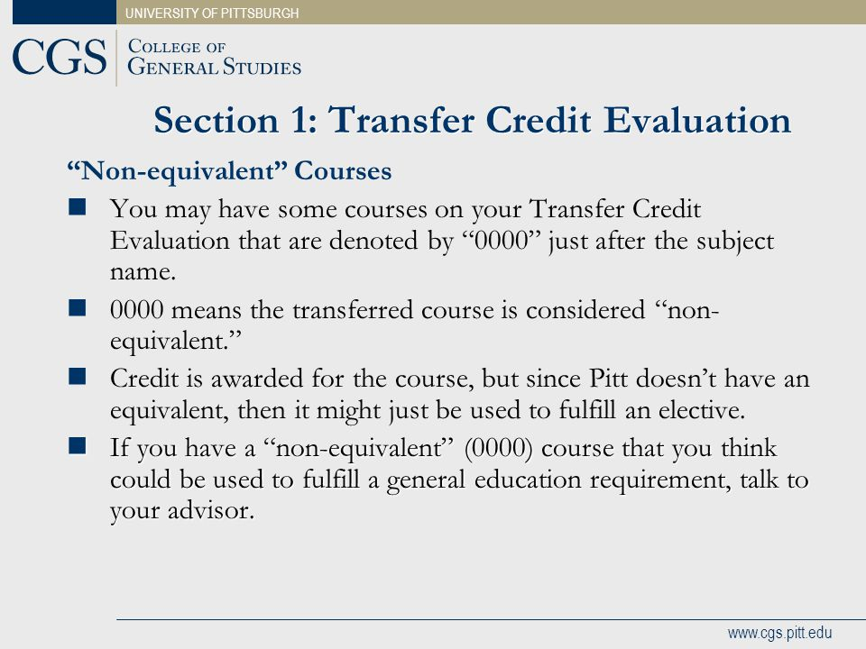 Section 1: Transfer Credit Evaluation