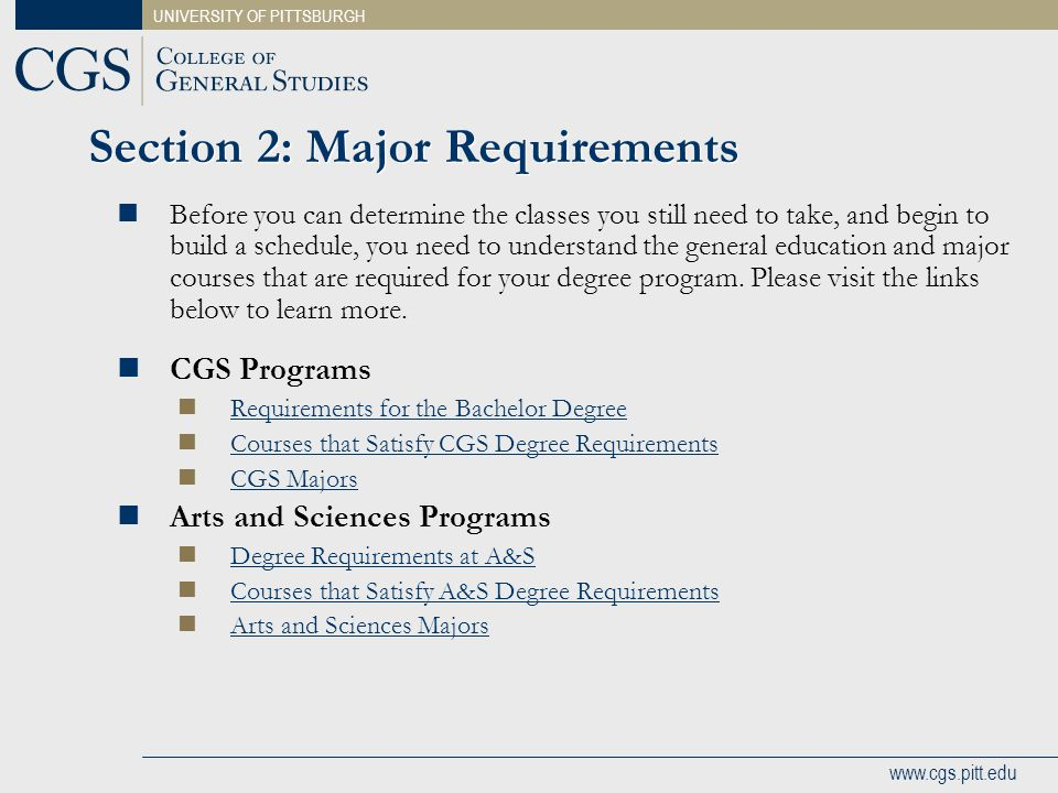 Section 2: Major Requirements