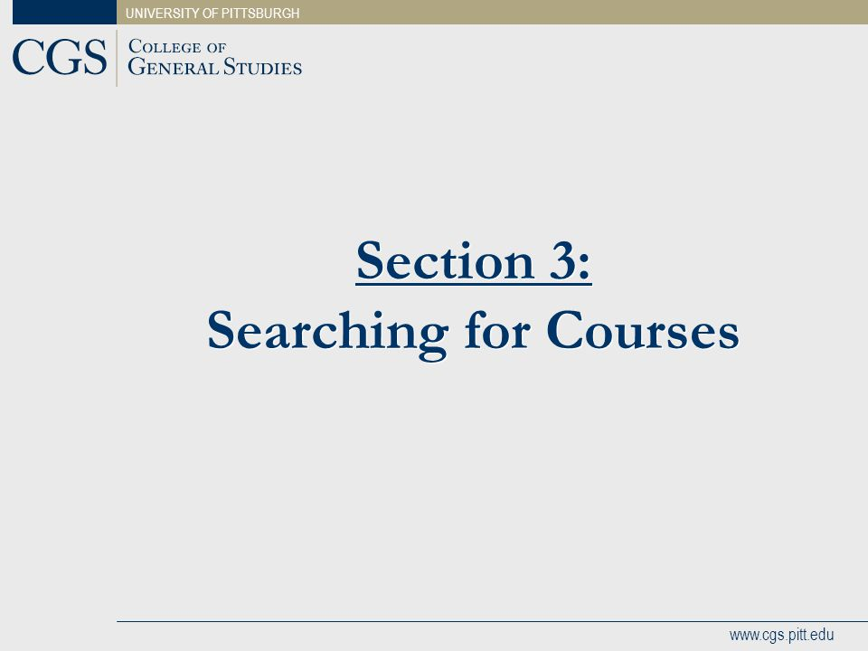 Section 3: Searching for Courses