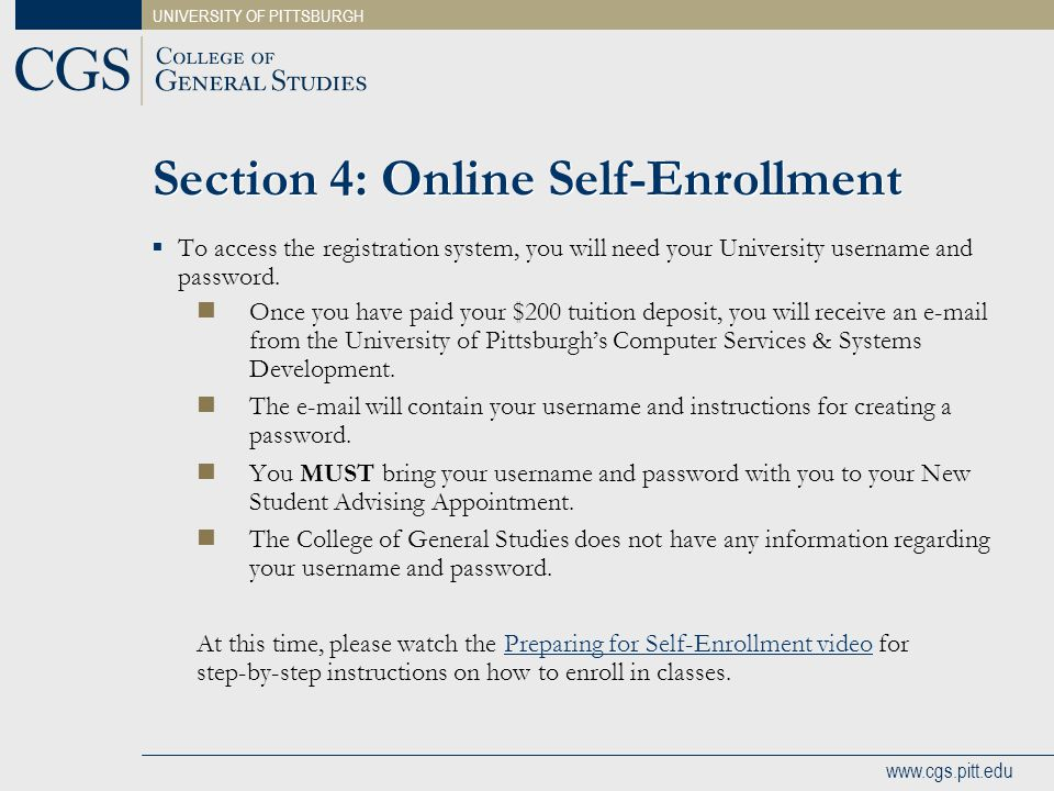 Section 4: Online Self-Enrollment