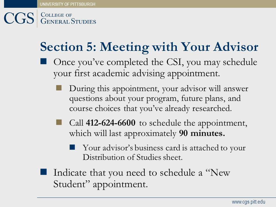 Section 5: Meeting with Your Advisor
