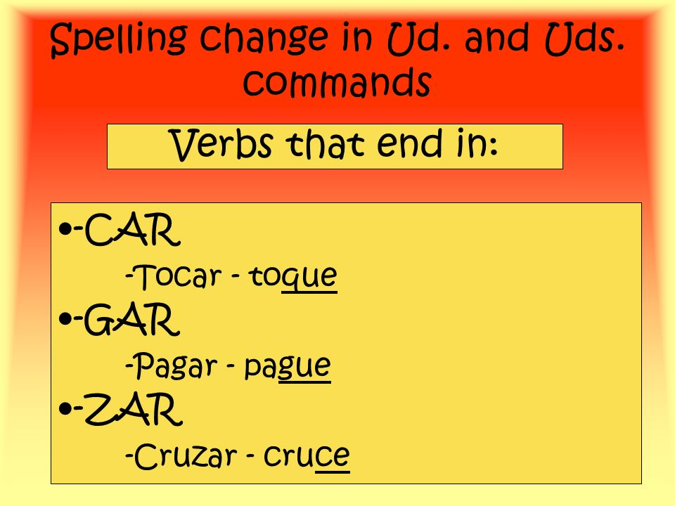 Spelling change in Ud. and Uds. commands