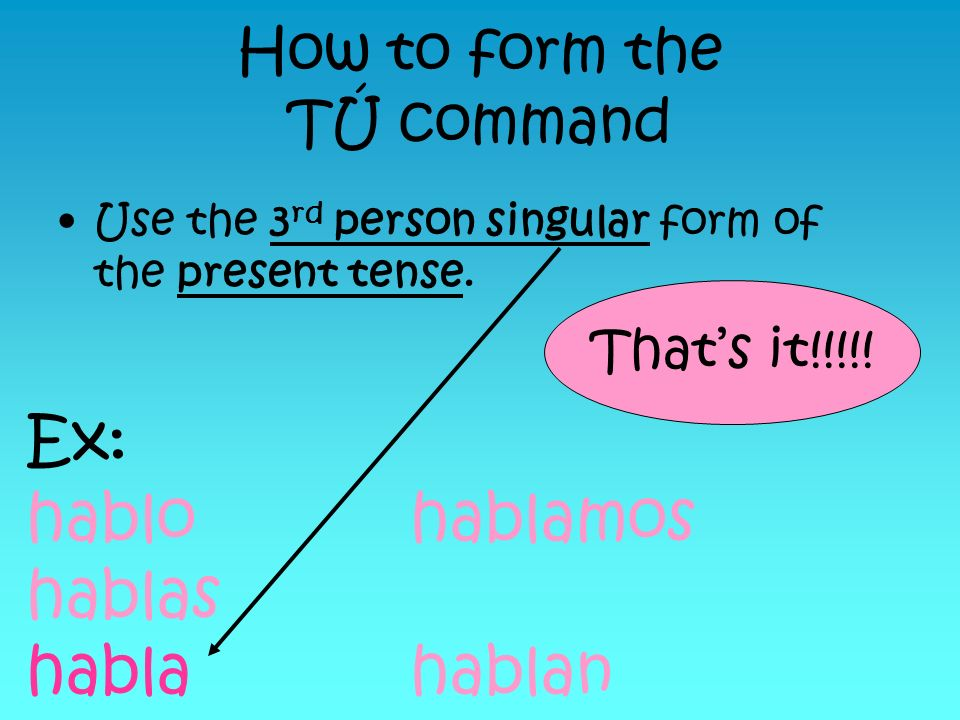 How to form the TÚ command