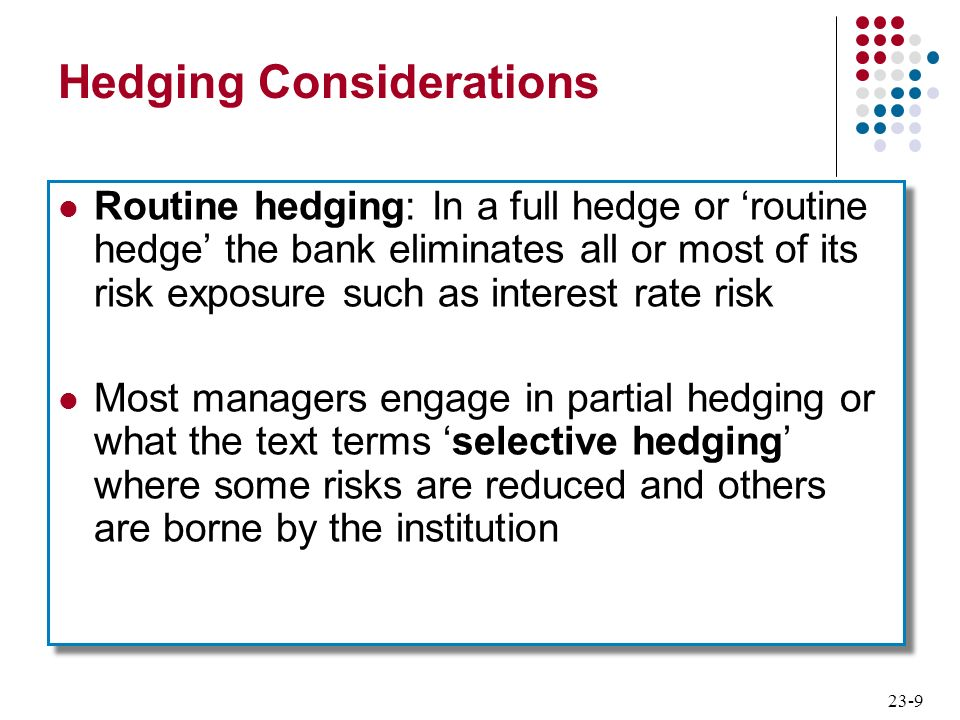 Hedging Considerations