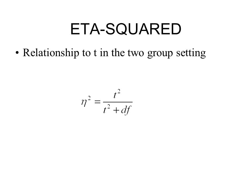 ETA-SQUARED Relationship to t in the two group setting 21