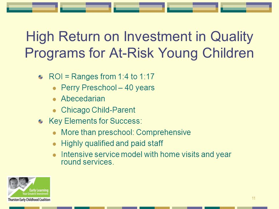 High Return on Investment in Quality Programs for At-Risk Young Children