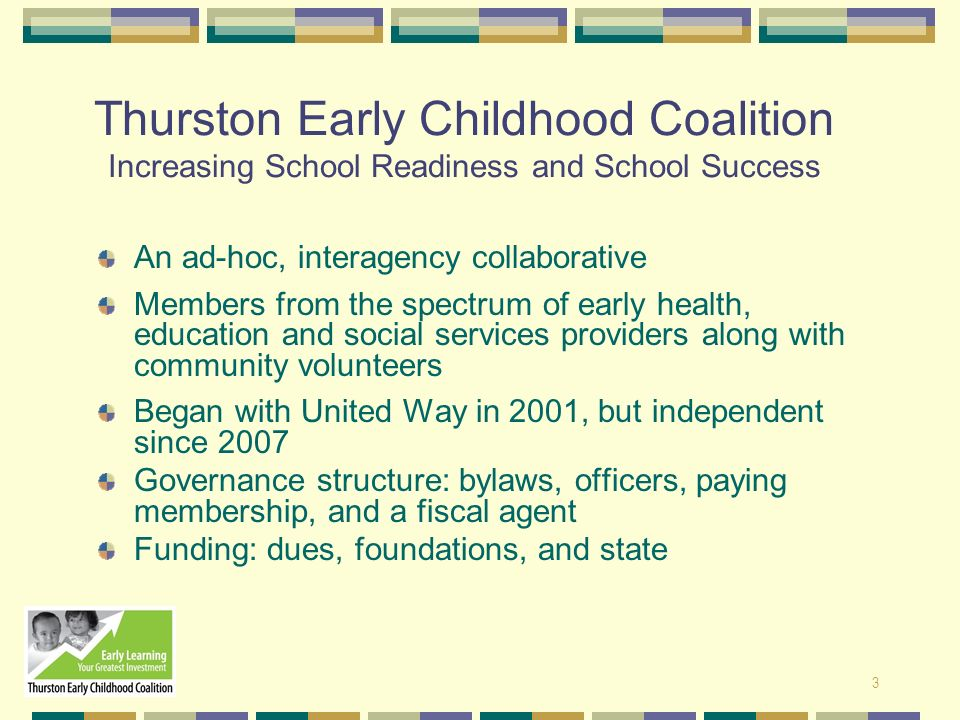 Thurston Early Childhood Coalition Increasing School Readiness and School Success