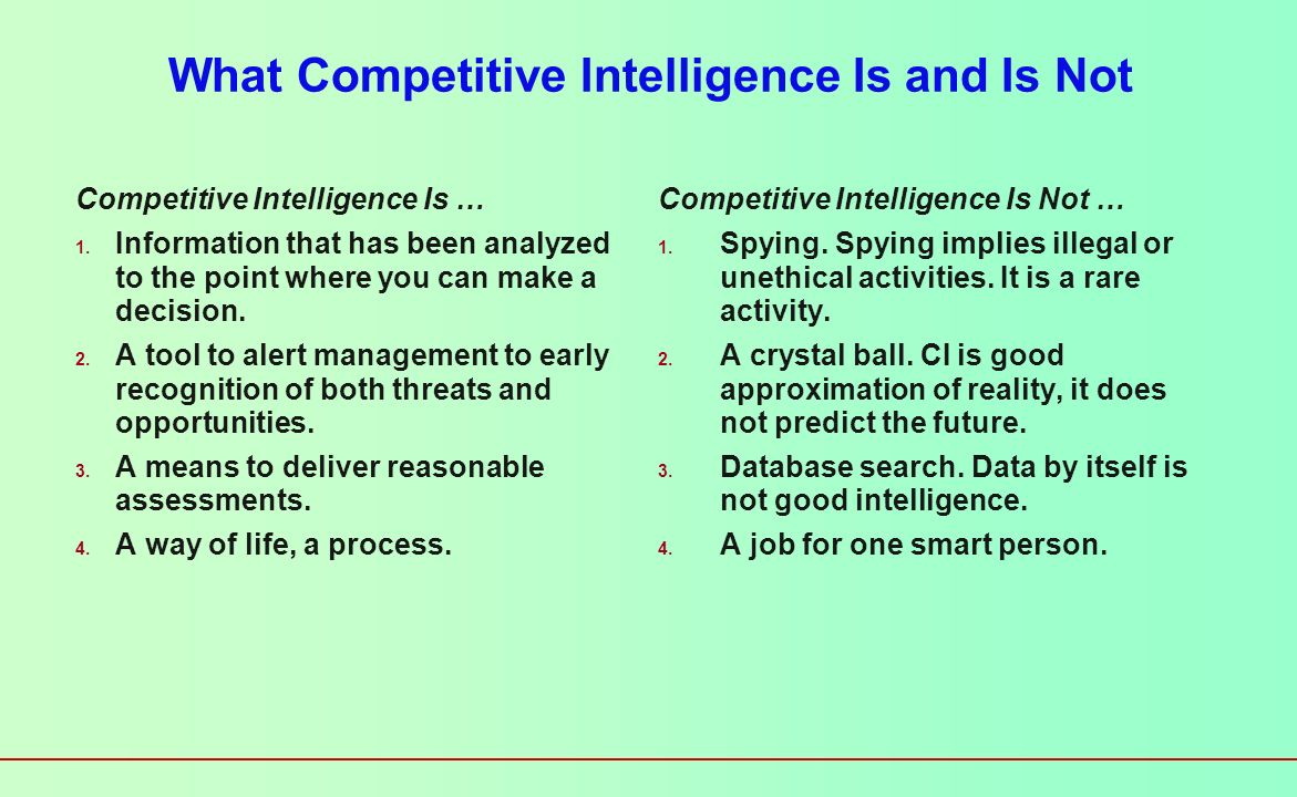What Competitive Intelligence Is and Is Not