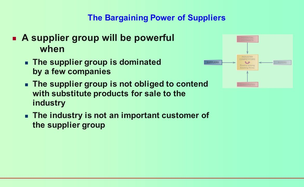 The Bargaining Power of Suppliers