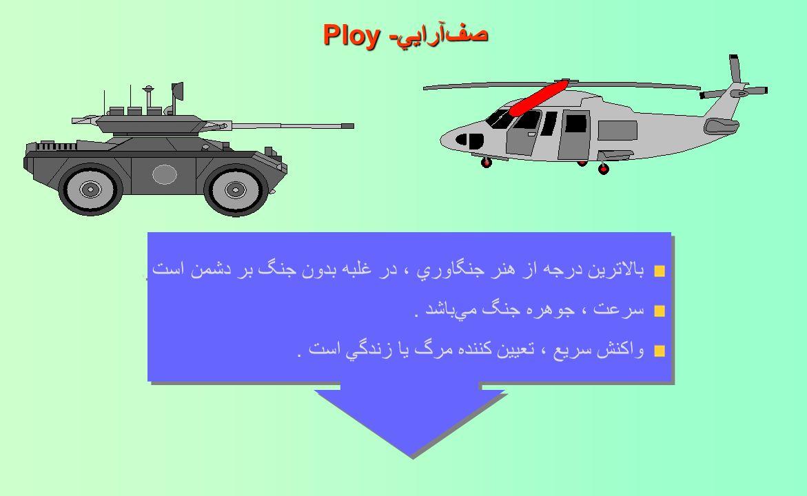صفآرايي-Ploy بالاترين درجه از هنر جنگاوري ، در غلبه بدون جنگ بر دشمن است . سرعت ، جوهره جنگ ميباشد .