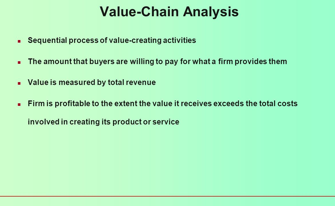 Value-Chain Analysis Sequential process of value-creating activities
