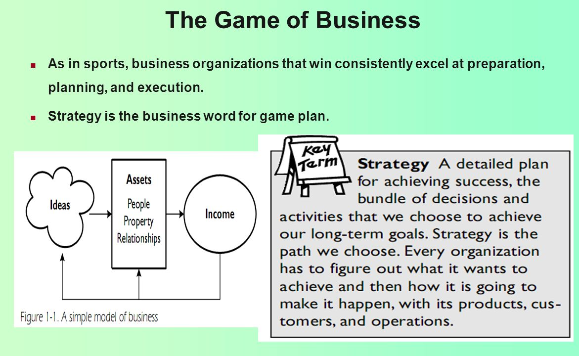 The Game of Business As in sports, business organizations that win consistently excel at preparation, planning, and execution.