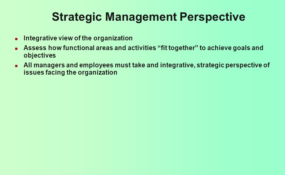 Strategic Management Perspective