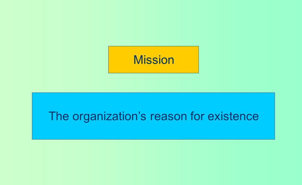 The organization's reason for existence