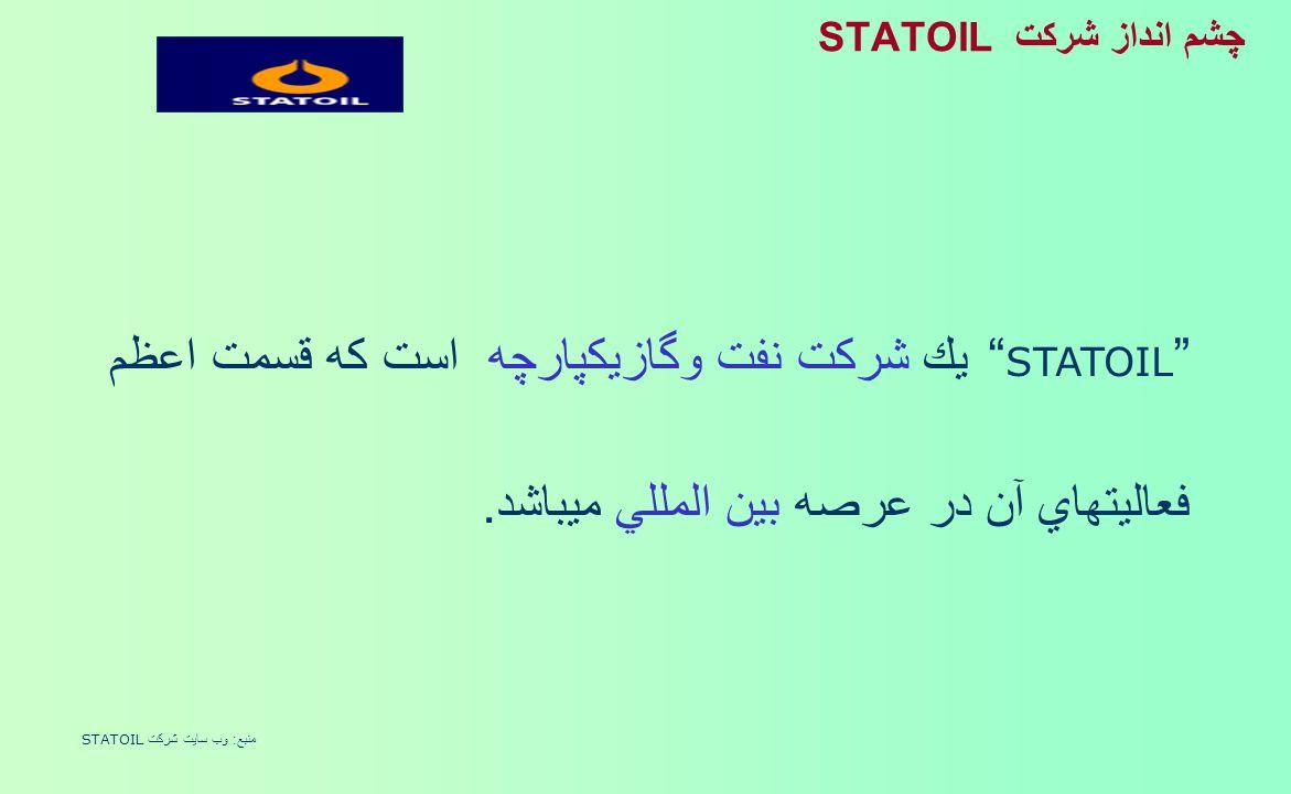 چشم انداز شركت STATOIL STATOIL يك شركت نفت وگازيكپارچه است كه قسمت اعظم فعاليتهاي آن در عرصه بين المللي ميباشد.