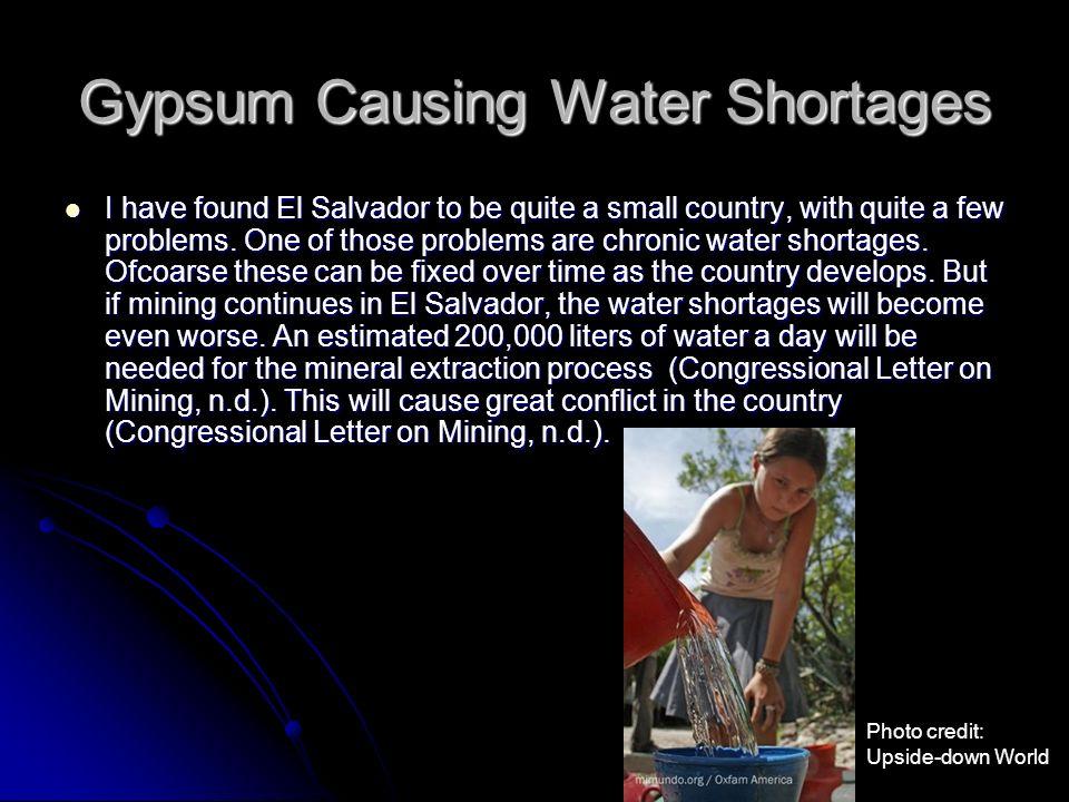 Gypsum Causing Water Shortages