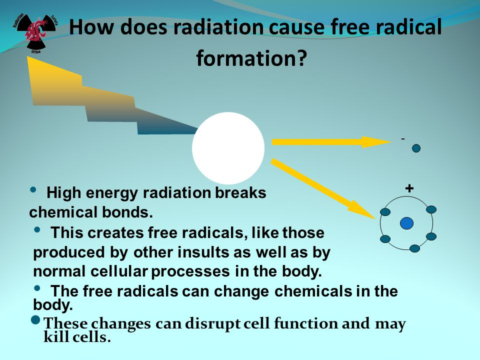 How does radiation cause free radical formation