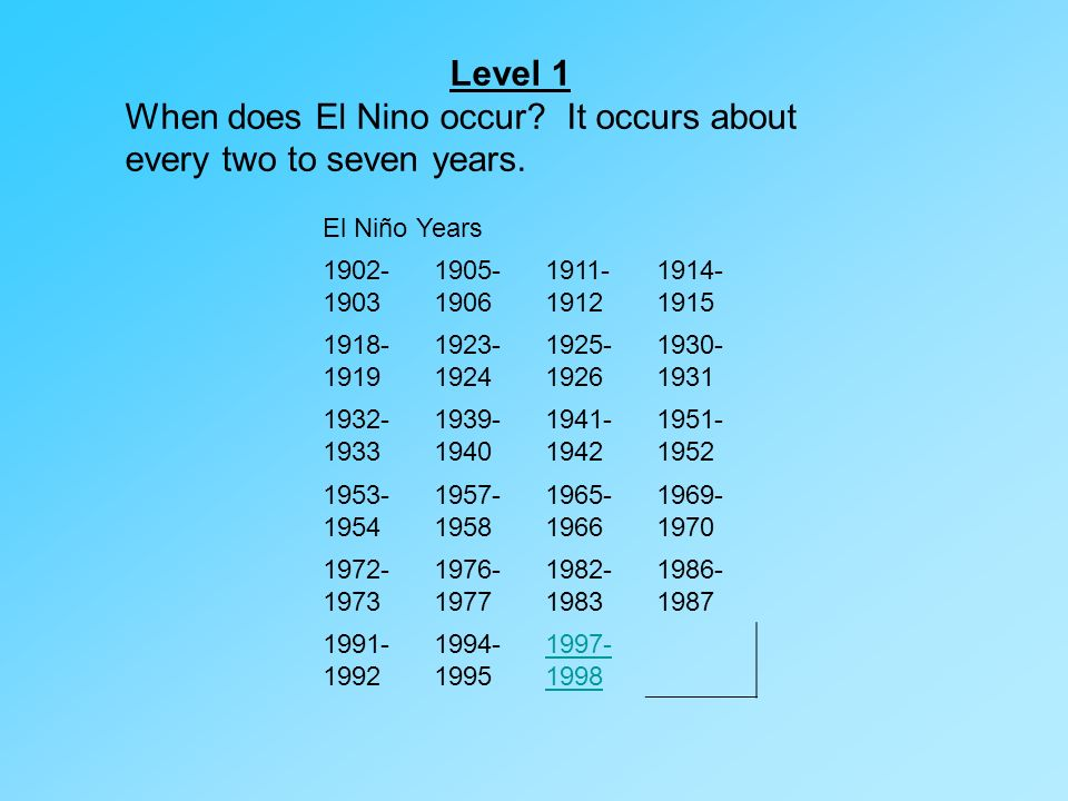 When does El Nino occur It occurs about every two to seven years.