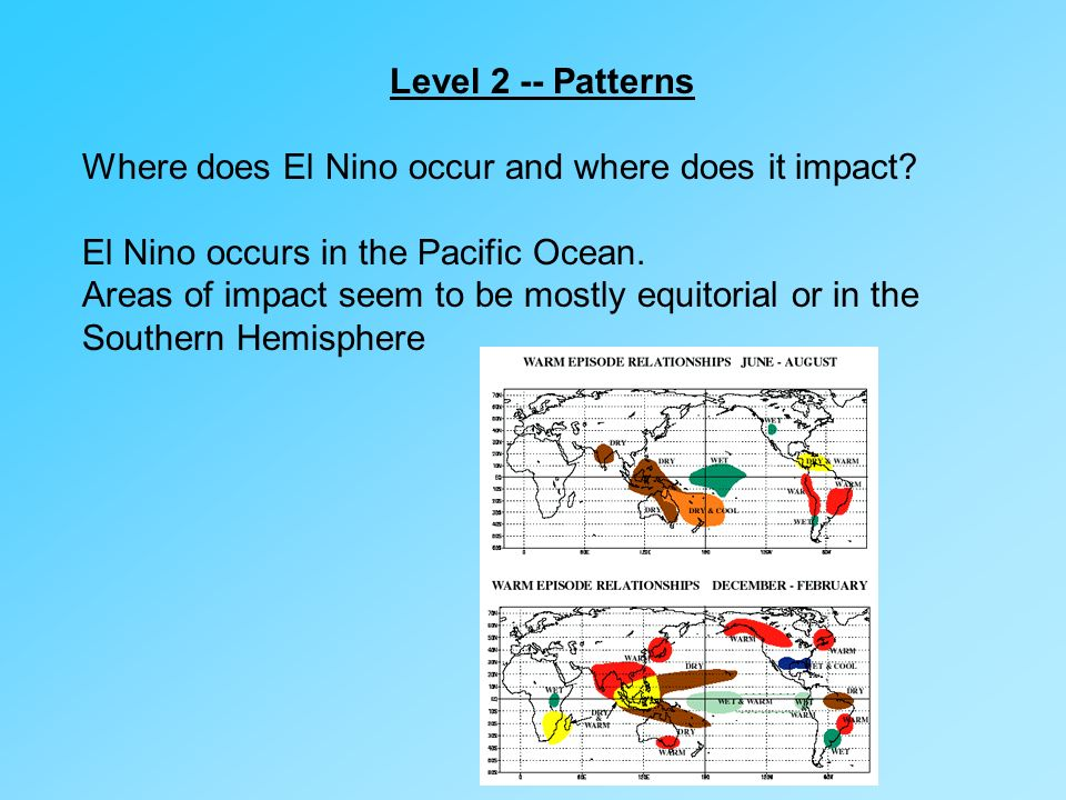 Level 2 -- Patterns Where does El Nino occur and where does it impact El Nino occurs in the Pacific Ocean.
