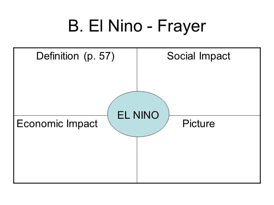 B. El Nino - Frayer Definition (p. 57) Social Impact Economic Impact