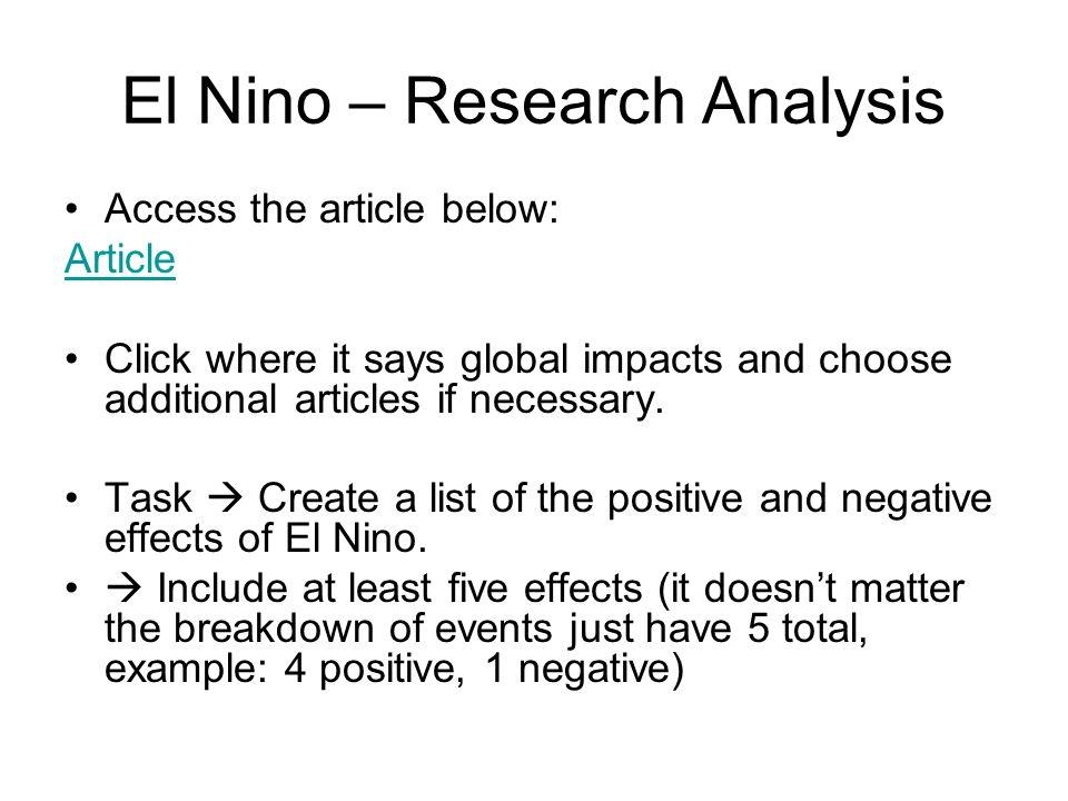 El Nino – Research Analysis