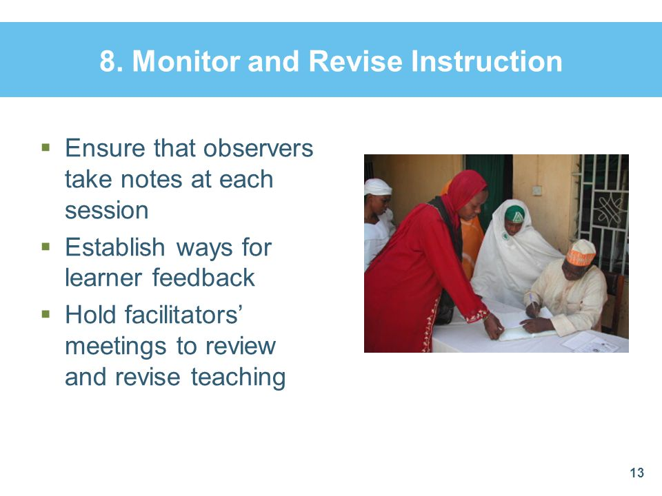 8. Monitor and Revise Instruction