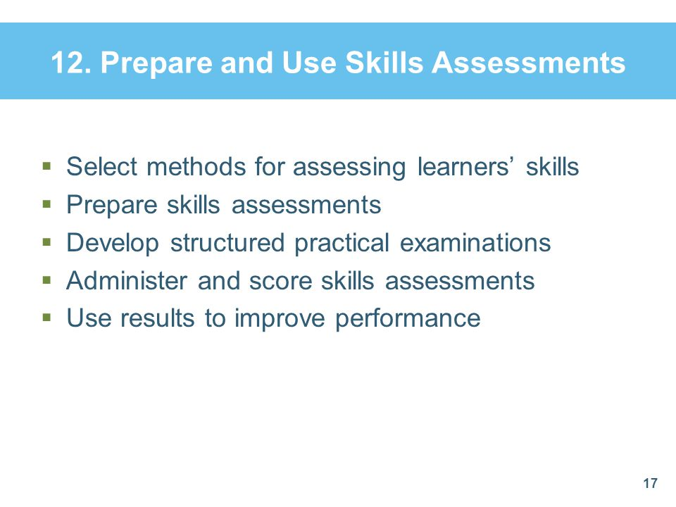 12. Prepare and Use Skills Assessments