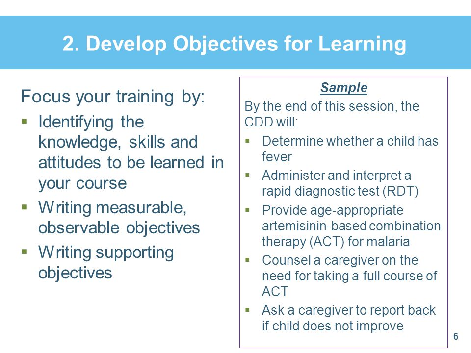 2. Develop Objectives for Learning