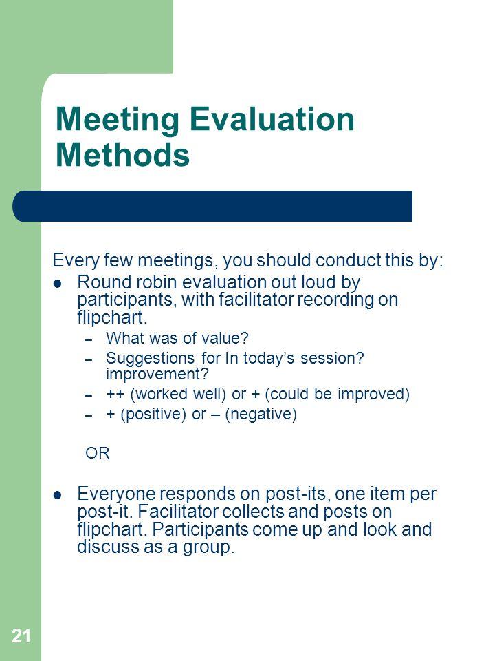Meeting Evaluation Methods