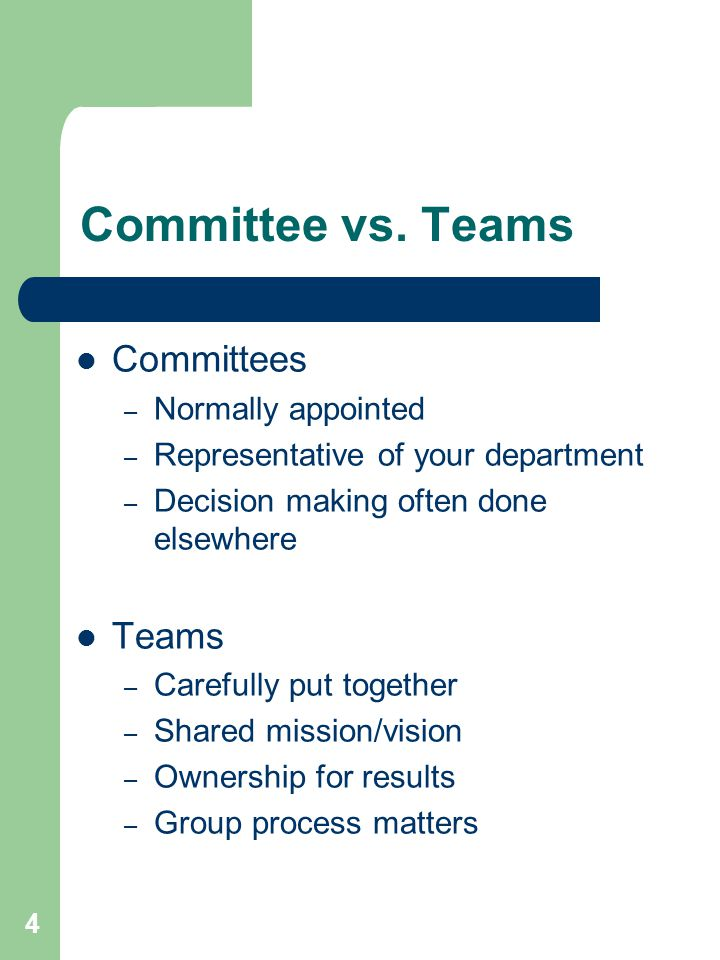 Committee vs. Teams Committees Teams Normally appointed