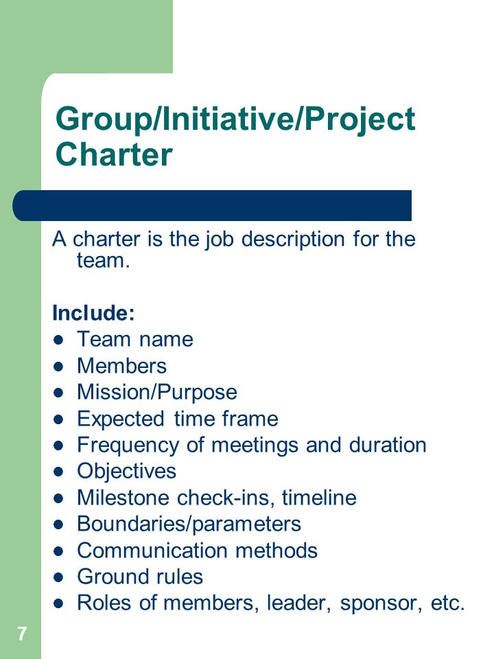 Group/Initiative/Project Charter