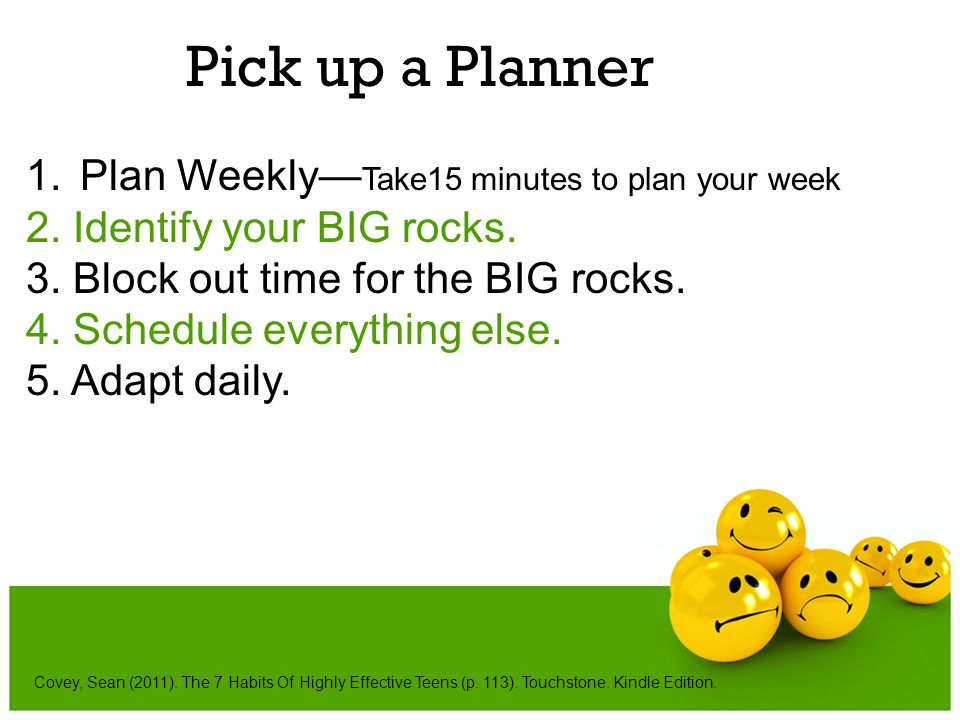 Pick up a Planner Plan Weekly—Take15 minutes to plan your week